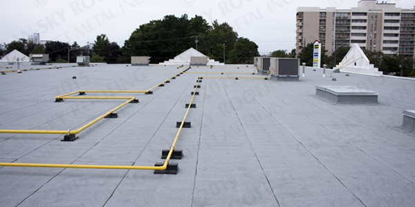 Commercial flat roofing - Modified Bitumen roof replacement - Can-Sky Roofing and Sheet Metal Inc.